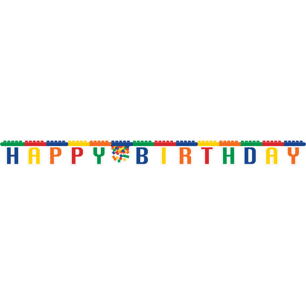 Building Block Party Supplies Happy Birthday Banner