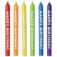 Happy Birthday Rainbow Candles 12 Pack