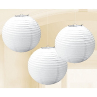 Australia Day Round Paper Lanterns Frosty White 3 Pack