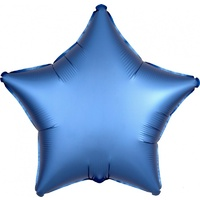 Azure Blue Satin Luxe Star Shaped Foil Balloon