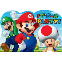 Super Mario Brothers Postcard Invitations 8 Pack