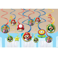 Super Mario Brothers Hanging Swirls Value 12 Pack