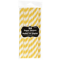 Sunshine Yellow Party Supplies Yellow Paper Straws 24 Pack