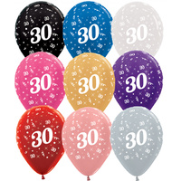 30th Birthday Party Supplies -  30th Birthday Metallic Balloons