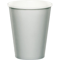 Shimmering Silver Party Supplies Paper Cups 24 Pack