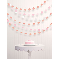 Rose Gold & Blush String Hanging Decorations Round Paper & Foil x6 Rows