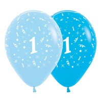 1st Birthday Boy Party Supplies All Over Age 1 Stars Blue Latex Balloons 6 Pack