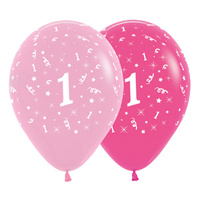 1st Birthday Girl Party Supplies All Over Age 1 Stars Pink Latex Balloons 6 Pack