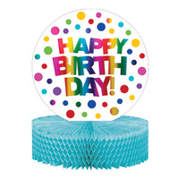 Rainbow Party Supplies Foil Happy Birthday Honeycomb Centerpiece