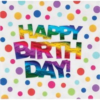 Rainbow Party Supplies Rainbow Foil Happy Birthday Lunch Napkins