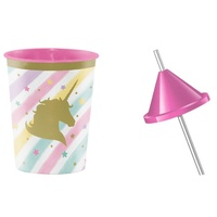 Unicorn Sparkle Set of 4 Favour Cups with Pink Lids & Straws