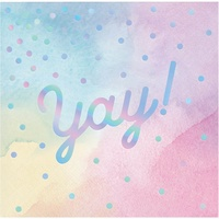 "Rainbow Pastel Party Supplies ""YAY"" Beverage Napkins 16 Pack"