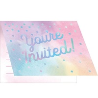 Rainbow Pastel Party Supplies Invites 8 Pack