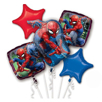 Spiderman Party Supplies Balloon Bouquet 5 Foil Balloons