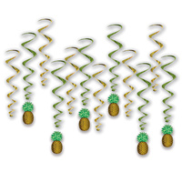 Hawaiian Luau Party Supplies Pineapple Whirls Hanging Decorations 12 Pack