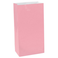 Pink Party Supplies Pale Rose Colour Paper Treat Loot Favour Bags x12