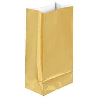 Glittering Gold Party Supplies Shiny Gold Metallic Foil Paper Treat Loot Favour Bags x12
