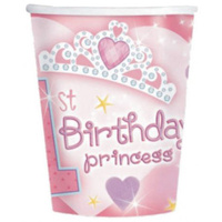 1st Birthday Princess Paper Cups 18 pack  226ml
