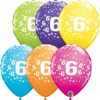 Age 6 Stars Printed Balloons Latex 6 Pack