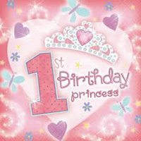 1st Birthday Princess Paper Napkins 36Pk