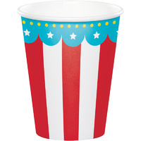 Circus Party Birthday Paper Cups 8 Pack Red & White