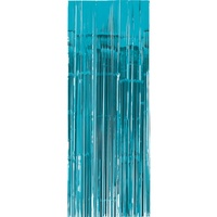 Caribbean Blue Metallic Foil Door Curtain