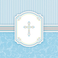 Baptism Christening Party Supplies Religious Blessings Blue Lunch Napkins 16 Pack