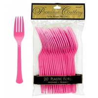 Bright Pink Party Supplies - Bright Pink Plastic Forks x 20 Pack