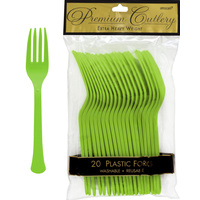 Kiwi Green Party Supplies - Kiwi Green Forks 20 Pack