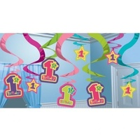 1st Birthday Girls Onderful Hanging Swirls 15 pack