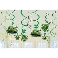 Army Camouflage Hanging Swirl Decorations 12pk