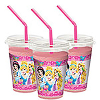 Princess And Animals MilkShake Cups 12 Pack With Lids And Straws