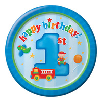 1st Birthday Boys Party Supplies Fun At One Boys Lunch Plates 8 Pack