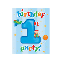 1st Birthday Party Supplies - Fun At One Boy Invites 8 Pack
