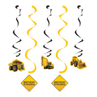 Construction Zone Party Supplies Hanging Decorations 5 pack