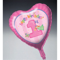 1st Birthday Party Supplies Fun at One Girl Foil Heart Shaped Balloon