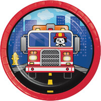 Flaming Fire Truck Firefighter Lunch Cake Dessert Plates 8 Pack