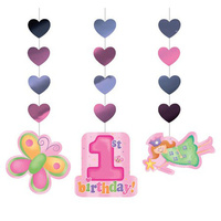 1st Birthday Girls Party Supplies Fun at One Girl Hanging Cutouts 3 Pack