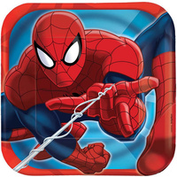 Spiderman Square Dessert Lunch Plates 8 Pack