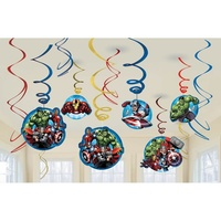 Avengers Party Supplies Swirl Decorations 12 Pack
