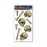 Halloween Skulls and Bones Stickers Peel and Place