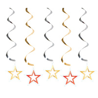 Hollywood Party Supplies Hanging Star Swirl Decorations 5 pack
