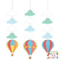Hot Air Balloon Up Up away Hanging Decorations 3 Pack