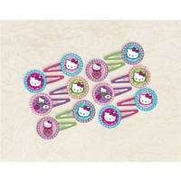 Hello Kitty Party Supplies Glitter Hair Clips 12 Pack