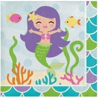 Mermaid Friends Beverage Napkin 16 Pack