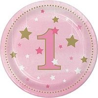 Twinkle Twinkle One Little Star Girl 1st Birthday Lunch Plates 8 Pack