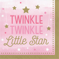 Twinkle Twinkle One Little Star Girl Lunch Napkins 16 Pack