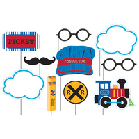 All Aboard Train Photo Booth Props 10 Pack