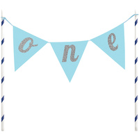 1st Birthday Blue One Pennant Banner Cake Topper