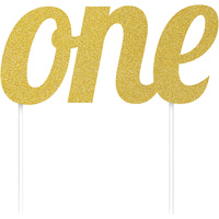 Gold One Glitter Cake Topper